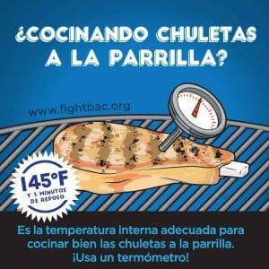 Pork Chop Grilling Graphic Spanish