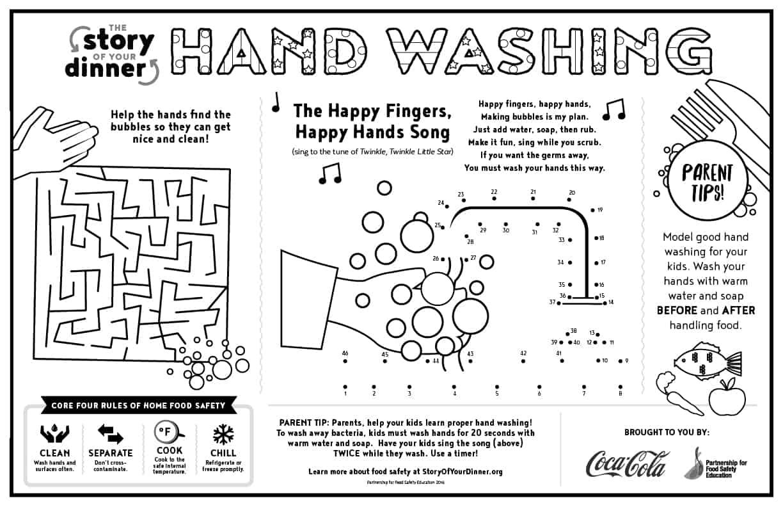 Hand washing placemat