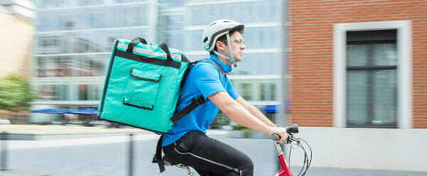 Food delivery man on a bicycle